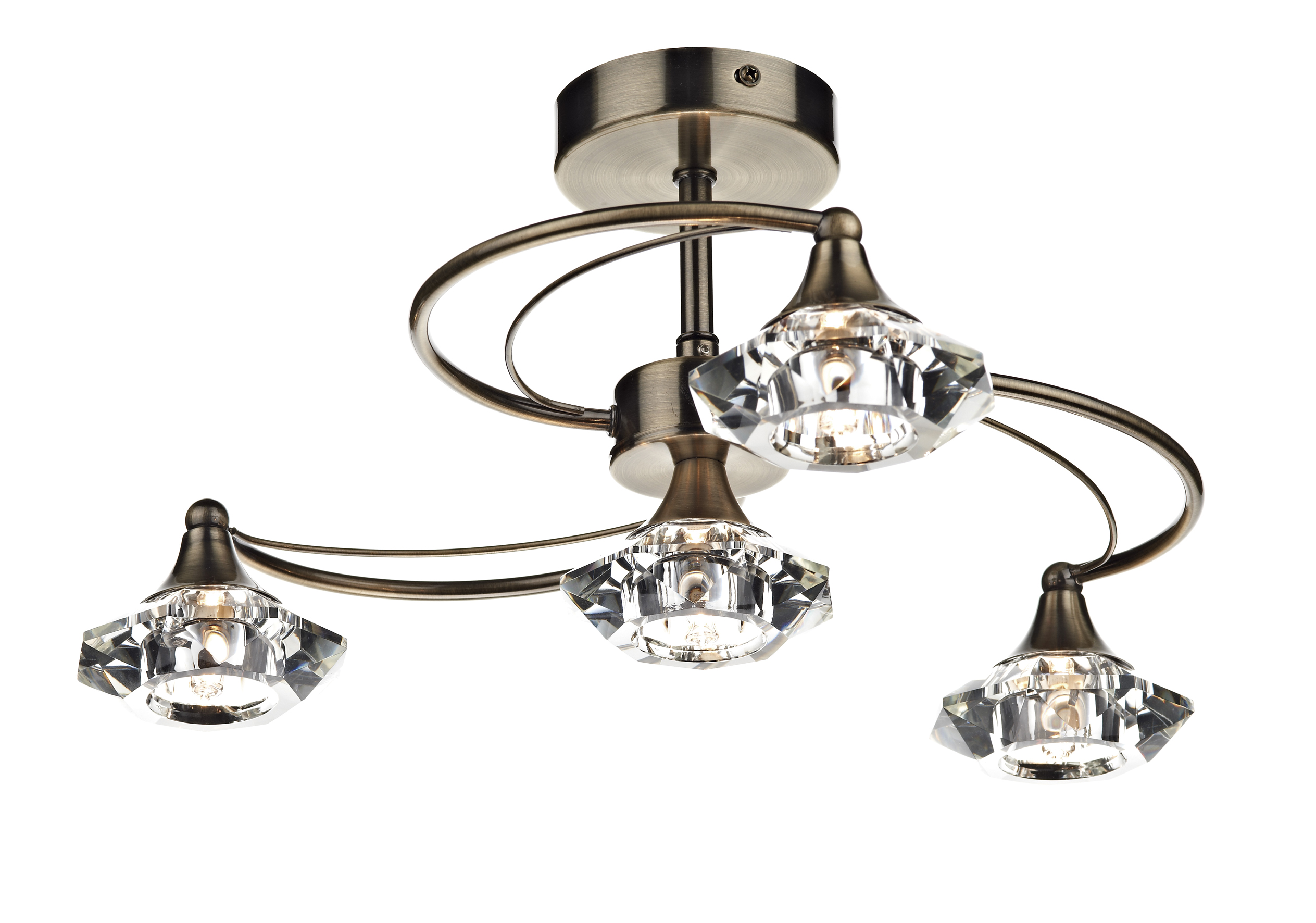 Luther 4 Light Antique Br Semi Flush