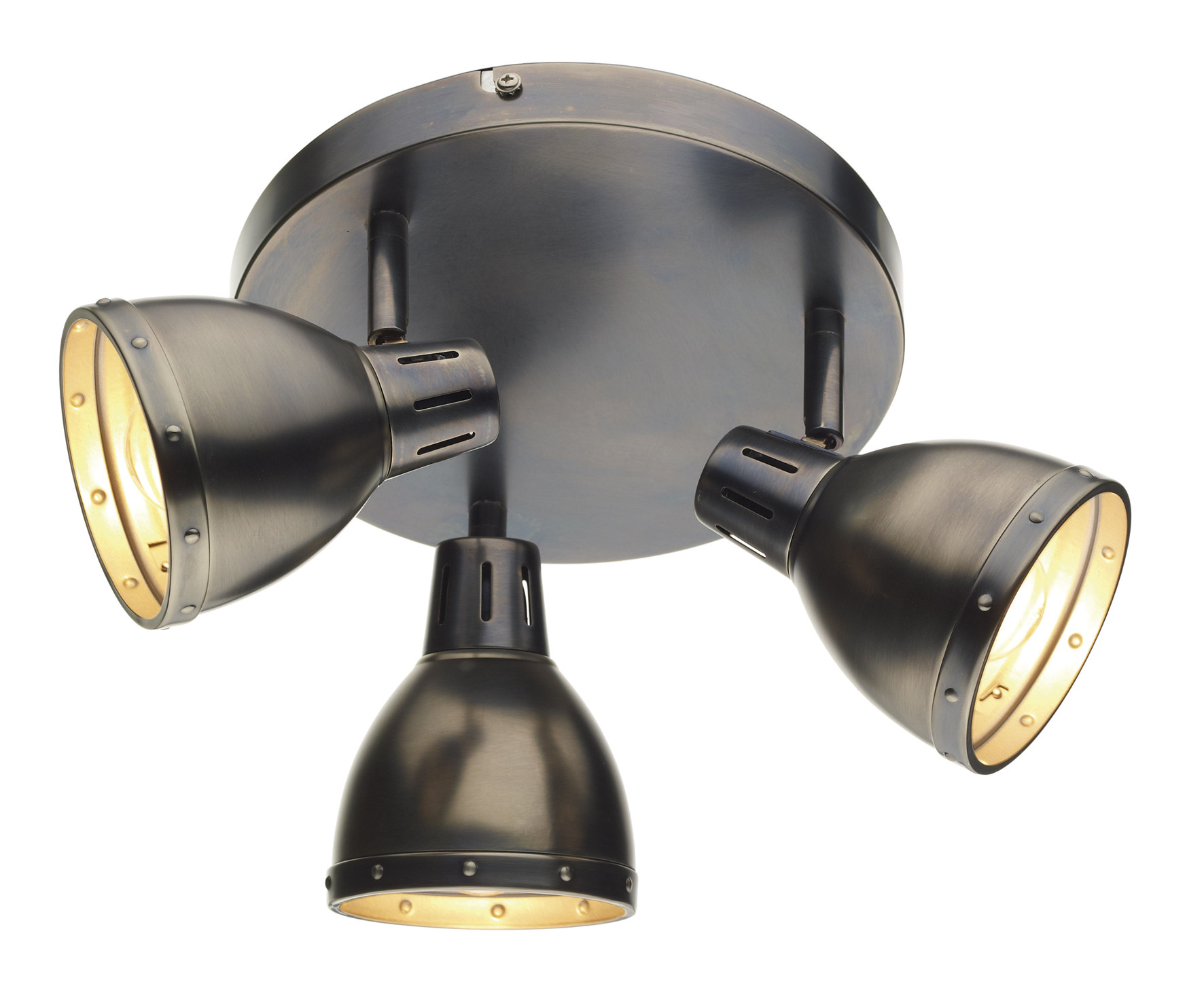 3 light modern round plate ceiling spotlight antique chrome osaka 3 light modern round plate ceiling spotlight antique chrome aloadofball Choice Image