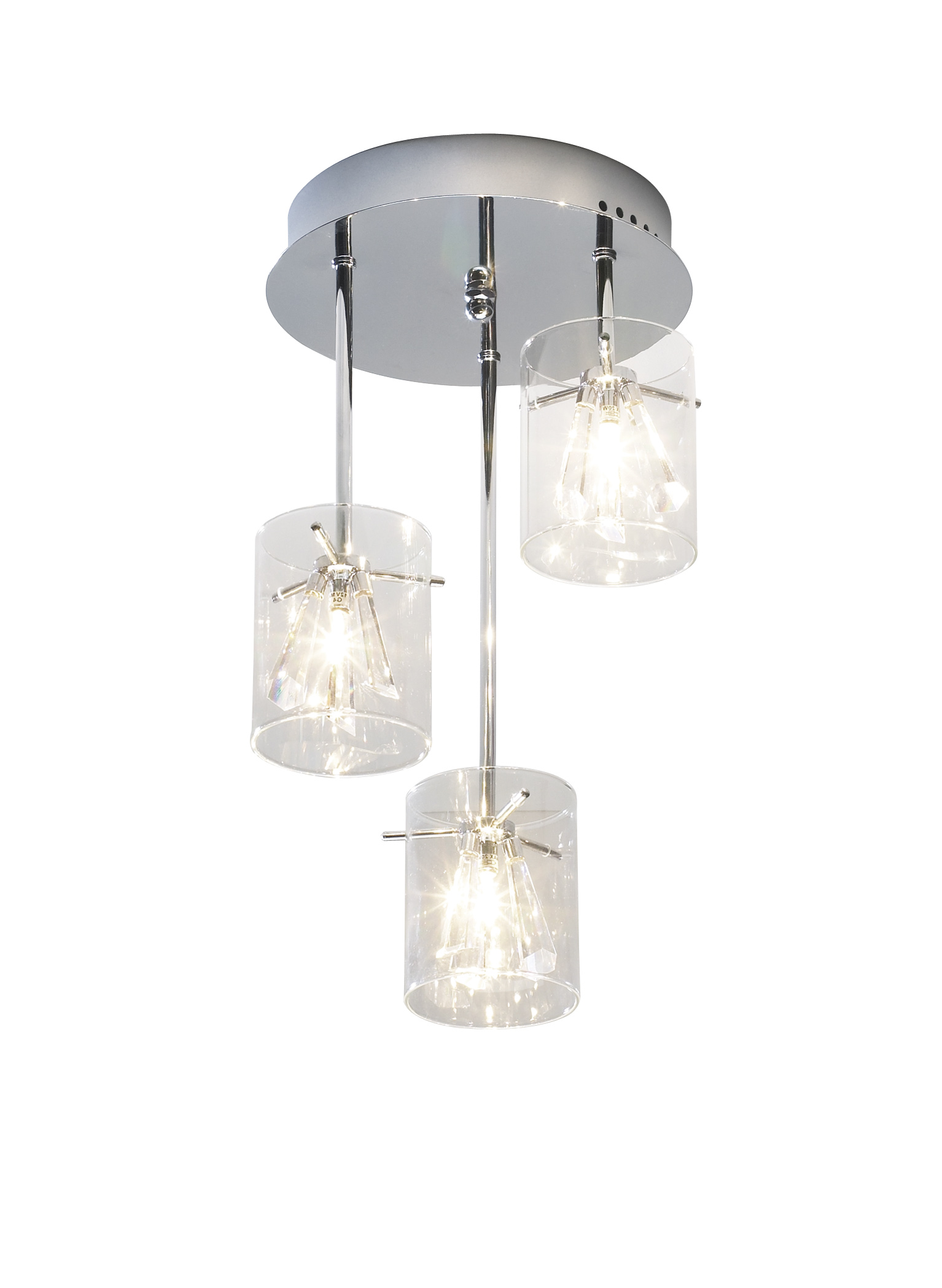 Somerset 3 Light Modern Crystal Pendant Ceiling Polished Chrome Finish Gl Cylinder Shade With Droppers
